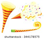 party horn and blowing... | Shutterstock .eps vector #344178575