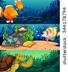 sea animals under the ocean... | Shutterstock .eps vector #344178794