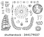 graphic set with sailing ship ... | Shutterstock .eps vector #344179037