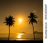 two palm trees silhouette on... | Shutterstock . vector #344183069