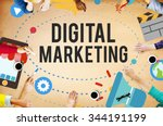 digital marketing brainstorming ... | Shutterstock . vector #344191199