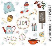 christmas illustrations and... | Shutterstock .eps vector #344192837