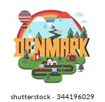 denmark in scandinavia is a... | Shutterstock .eps vector #344196029