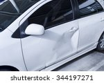 white car body get damage on... | Shutterstock . vector #344197271
