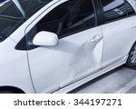 white car body get damage on...   Shutterstock . vector #344197271