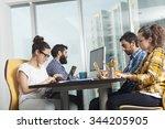 group of happy creative people... | Shutterstock . vector #344205905
