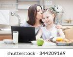 mother and daughter looking...   Shutterstock . vector #344209169