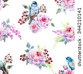 watercolor pattern with flowers ... | Shutterstock . vector #344210141