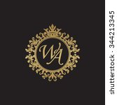 wa initial luxury ornament... | Shutterstock .eps vector #344213345
