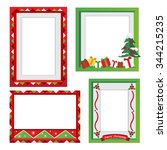 set of christmas frames vector... | Shutterstock .eps vector #344215235