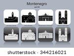 landmarks of montenegro. set of ... | Shutterstock .eps vector #344216021