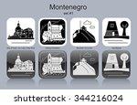 landmarks of montenegro. set of ... | Shutterstock .eps vector #344216024