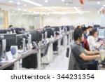 Blurred Of Employee Working...