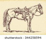 hand drawn western horse... | Shutterstock .eps vector #344258594