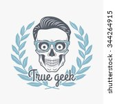 true geek skull vector with... | Shutterstock .eps vector #344264915