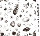 seamless fruit pattern drawn in ... | Shutterstock .eps vector #344281817