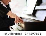 musician teacher trains to play ... | Shutterstock . vector #344297831