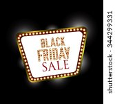 black friday retro light frame. ... | Shutterstock .eps vector #344299331