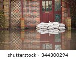 sandbags outside front door of... | Shutterstock . vector #344300294