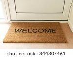 welcome mat inside doorway of... | Shutterstock . vector #344307461