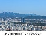 view seoul tower and background ... | Shutterstock . vector #344307929