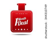 1 month deal red vector icon... | Shutterstock .eps vector #344310749