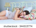 the young beautiful girl... | Shutterstock . vector #344315774
