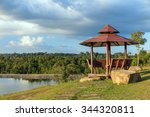 Wooden Gazebo And Lake With...