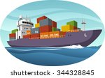 cargo ship vector cartoon... | Shutterstock .eps vector #344328845