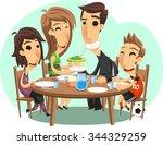 family dinner vector cartoon | Shutterstock .eps vector #344329259