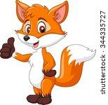 cartoon funny fox giving thumb... | Shutterstock .eps vector #344335727