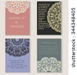 set of four greeting card or... | Shutterstock .eps vector #344348405