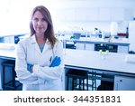 scientist smiling at the camera ... | Shutterstock . vector #344351831