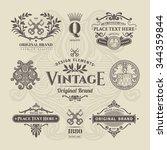 set of vintage retro labels ... | Shutterstock .eps vector #344359844