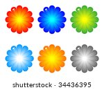 colorful flowers buttons vector ...