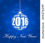 stylish new year 2016 ornament... | Shutterstock .eps vector #344376299
