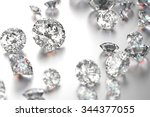 luxury diamonds on white... | Shutterstock . vector #344377055