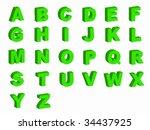 alphabet letters in silhouette... | Shutterstock . vector #34437925