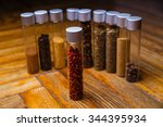 assorted ground spices in... | Shutterstock . vector #344395934