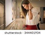 happy woman in a jewelry | Shutterstock . vector #344401934