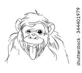 sketch of chimpanzee. vector... | Shutterstock .eps vector #344401979