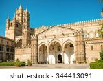 Small photo of PALERMO, ITALY - NOVEMBER 11: Facade of Cathedral church of the Roman Catholic Archdiocese of Palermo erected in 1185 by Walter Ophamil on 11 November 2015