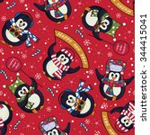 cute christmas penguins... | Shutterstock .eps vector #344415041