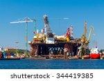 construction of offshore oil... | Shutterstock . vector #344419385