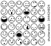 caricature emoticons on white.... | Shutterstock .eps vector #344424824