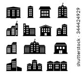 a set of buildings and houses... | Shutterstock .eps vector #344424929