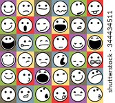 caricature emoticons set on... | Shutterstock .eps vector #344434511