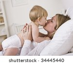 a beautiful young mother... | Shutterstock . vector #34445440
