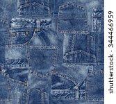 denim material patchwork | Shutterstock . vector #344466959