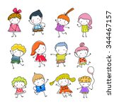 group of kids drawing sketch | Shutterstock .eps vector #344467157